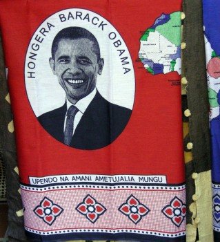 ¡Felicidades Barack Obama!Dios nos ha dado amor y paz. Fuente: http://pernille.typepad.com/louderthanswahili/2008/11/tanzanians-praise-obama-hongera-barack-obama.html