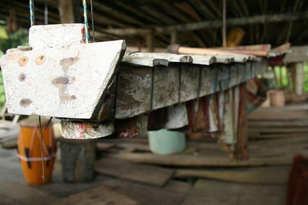 Marimba de los Espíritus, en la casa de las Torres del municipio de Guapi (noroccidente del departamento del Cauca, Colombia). Foto: Jorge Porras.