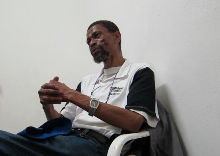 Mogorisi Motshumi durante la entrevista (noviembre 2012)