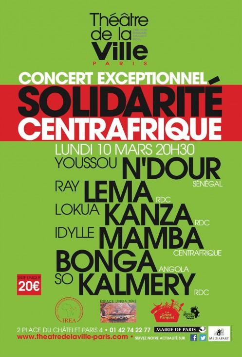 Cartel del concierto solidario de músicos africanos celebrado el 10 de marzo en París.