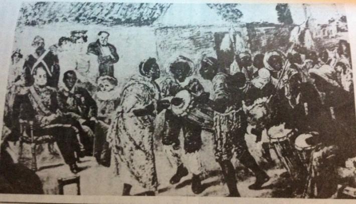 Juan Manuel de Rosas y afrodescendientes. Extraída del libro El candombe de Rubén Carámbula