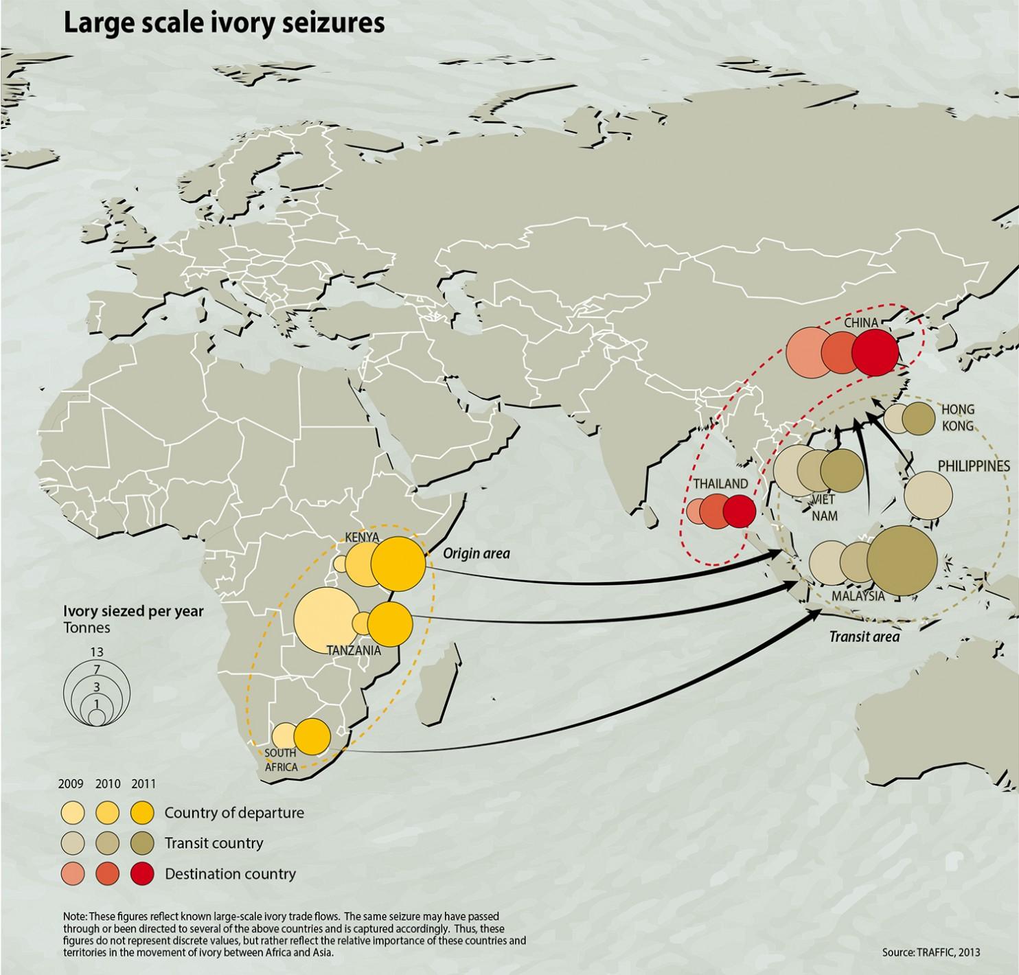 Mapa de las principales rutas de tráfico de marfil. Fuente: UNEP/GRID-Arendal.