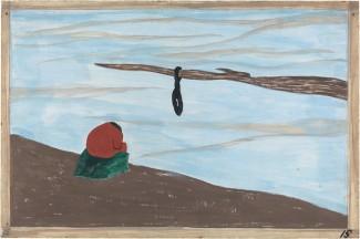 """Panel 15 de la serie 'Migration of the Negro', de J.Lawrence, bajo el que puede leerse: """"Otra causa fue el linchamiento. Se descubrió que allí donde había tenido lugar un linchamiento, las personas que eran reticentes a marcharse en un primer momento, fueron las primeras en irse después de recibirlo"""" / Imagen perteneciente a la exposición itinerante One-Way Ticket, del MoMA.-"""