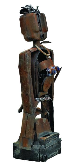 ROMUALD HAZOUMÉ - androgino, 2000, tecnica mixta, 210x70x60 cm