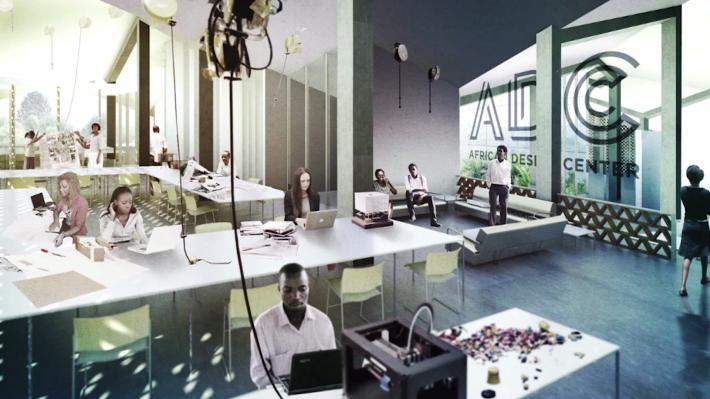 Imagen de cómo será el African Design Center (MASS) una vez terminado. Cortesía de MASS.