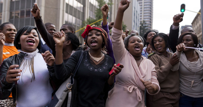 Late South African Nelson Mandela mourners